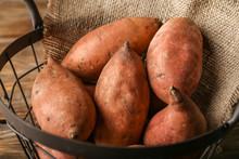 Raw Sweet Potato In Basket, Cl...