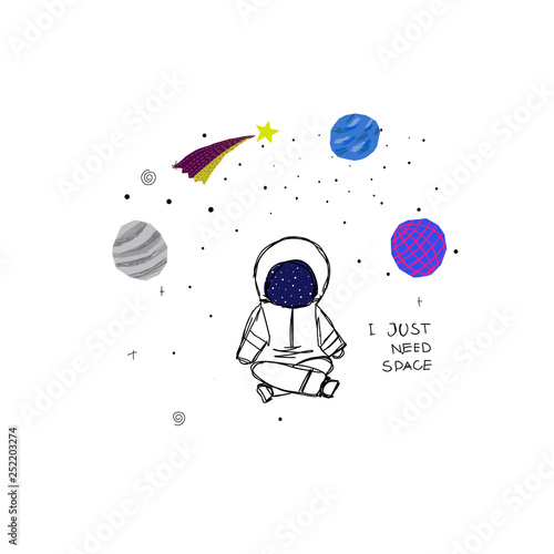 Fotografie, Obraz  I just need Space Planet Star astronaut card