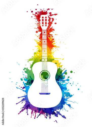 Obraz Creative rainbow musical illustration. Vector decoration element with white guitar silhouette and rainbow paint splashes - fototapety do salonu