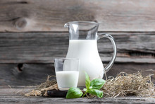 Fresh Milk In Glasses In Front Of A Rustic Vintage Background