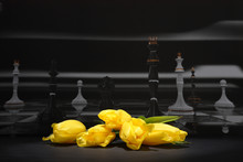 The Yellow Tulips On The Background Of Chess