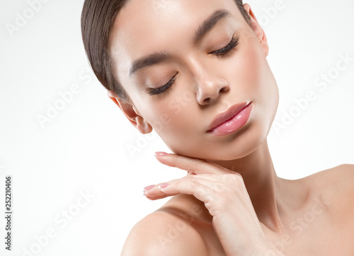 Fototapety, obrazy: Beautiful woman female skin care healthy hair and skin close up face beauty portrait