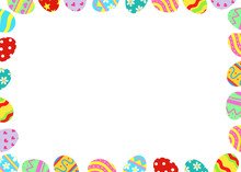 Easter Eggs Frame Border With A Black Space For A Text, Logo, Or Designs. View From Above. . Hand Drawn Vector Illustration.