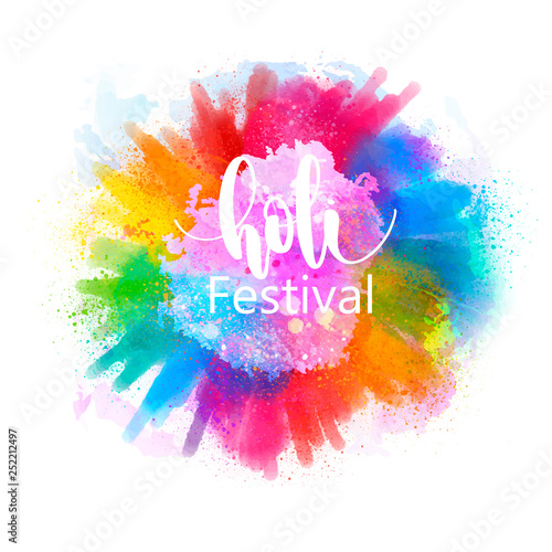 Slika na platnu illustration of Happy Holi for color festival of India celebration, holi splash