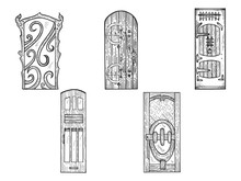 House Wooden Old Doors Sketch Engraving Vector Illustration. Scratch Board Style Imitation. Black And White Hand Drawn Image.