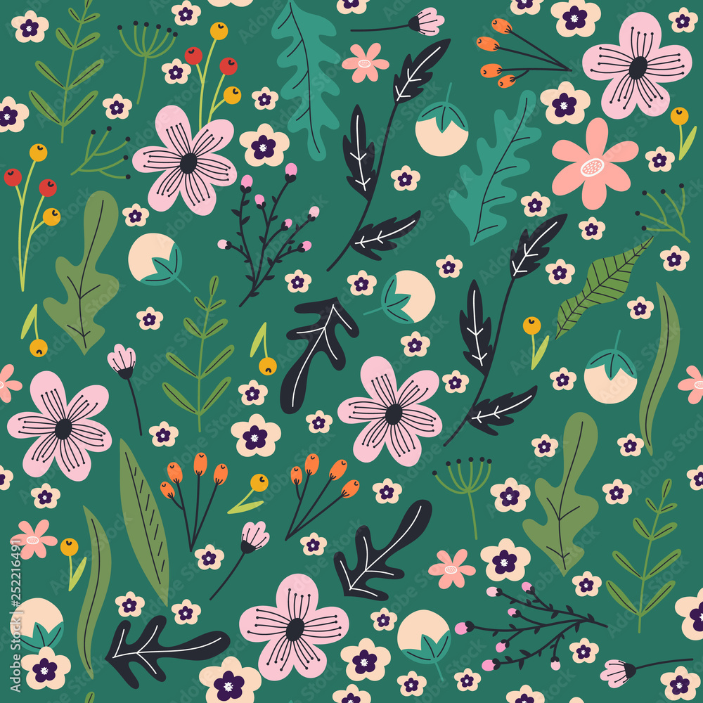 Floral hand drawn seamless pattern. Spring abstract flowers and leaves.Spring print for posters and greeting cards.