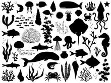 Sea Life Vector Silhouette Ill...