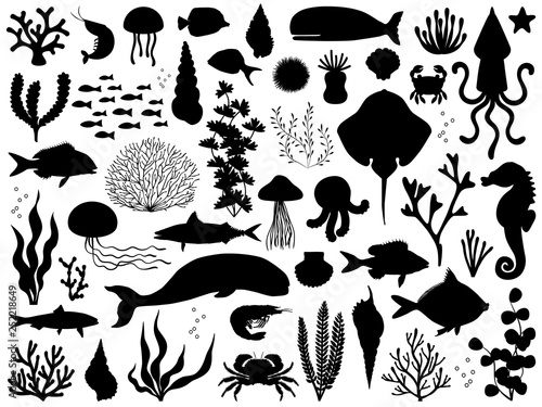 Sea life vector silhouette illustration set Fototapete