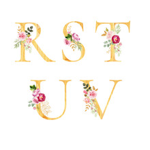 Set Of Decorated Watercolor Letters R S T U V