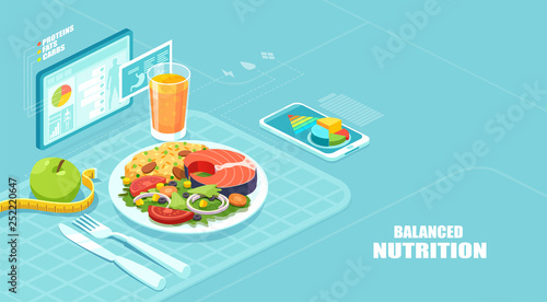 Fotomural Isometric vector of a nutrition app showing nutrition facts and assisting in cal
