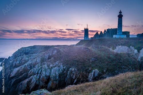Garden Poster Saint Mathieux lighthouse and ruined church in France