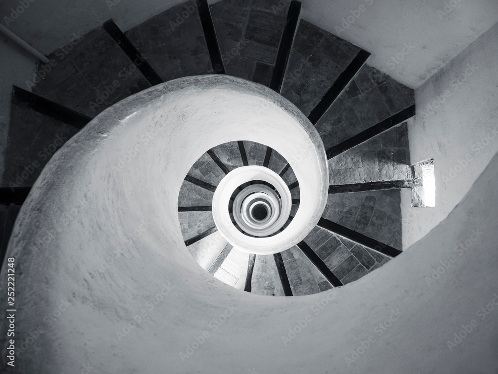 Fotografia Spiral Staircase step wooden handrail Architecture details Indoor Building persp