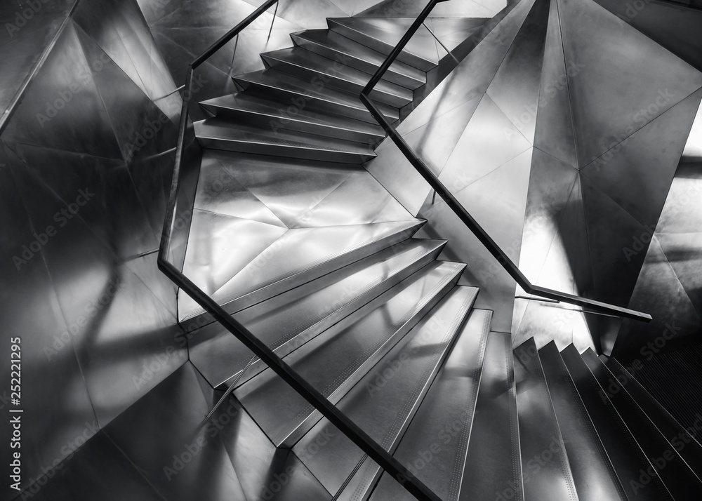 Fototapety, obrazy: Spiral staircase Metal steel Modern Building Architecture detail