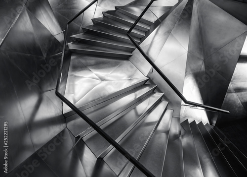 Fototapeta Spiral staircase Metal steel Modern Building Architecture detail obraz