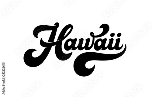 fb6877069645 Vintage Hawaii vector lettering in retro style isolated on white  background. Design for a logo, t-shirt, poster, banner, Hawaiian party  decoration.