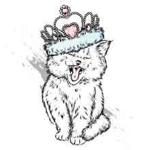 Cute Kitten In The Crown. Vect...