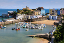 Harbour Beach, Boats, Colourful Historic Buildings, Castle Hill, Lifeboat Station On A Sunny Day, Tenby, Pembrokeshire, Wales