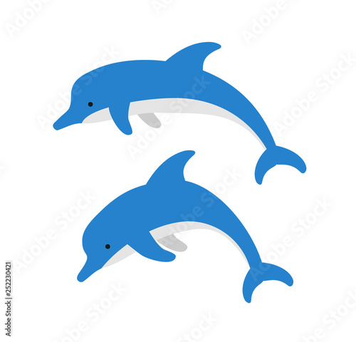 Photo  cute cartoon dolphins on white background