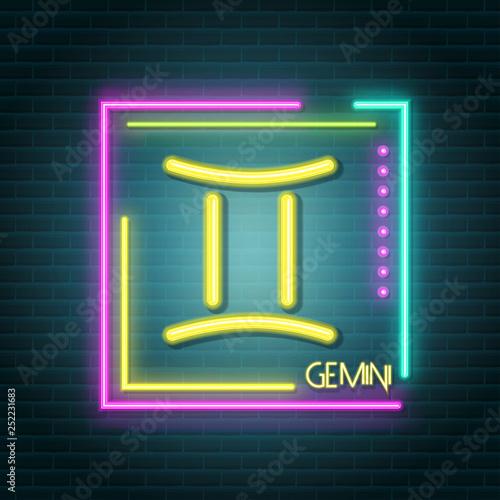 Poster Retro sign gemini neon sign