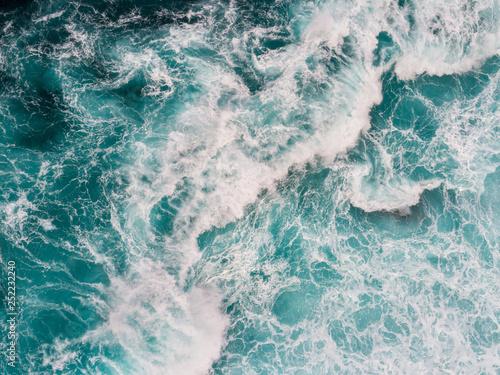 Foto auf Gartenposter Wasser Aerial top down shot of ocean or sea surf during the storm