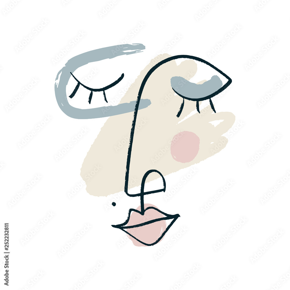 Simple hand drawn black and white trendy line portrait face art. Color print for clothes, textile and other