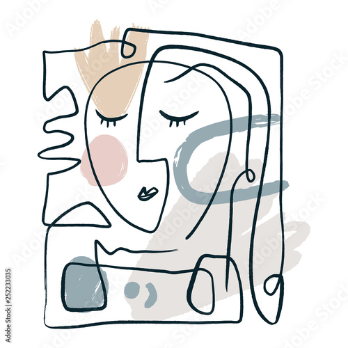 Prosta, ręcznie rysowane czarno-biały modny portret linii sztuka twarz. Kolorowy nadruk na ubrania, tekstylia i inne
