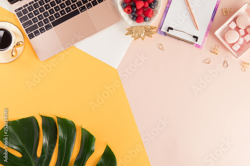 Fotografía  Woman business workplace with a laptop, flowers and green palm leaf on bright yellow and pink background
