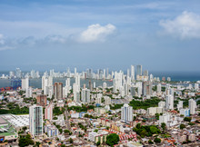 Manga And Bocagrande, Elevated View From La Popa, Cartagena, Bolivar Department, Colombia