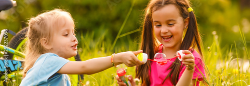 Fotografie, Obraz Portrait of cute girl blowing soap bubbles with her friend
