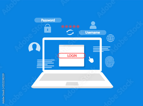 The concept of authorization in the laptop  Login and password