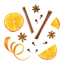 Set Of Orange, Star Anise, Clo...