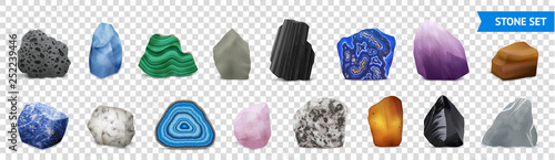 Obraz na plátne Realistic Stone Transparent Icon Set