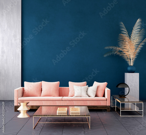 Fotografie, Obraz  Modern dark blue living room interior with pink color couch and golden decor,wal