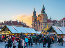 Church Of St. Nicholas And Christmas Markets, Staromestske Namesti (Old Town Square), Stare Mesto (Old Town), Prague, Czech Republic
