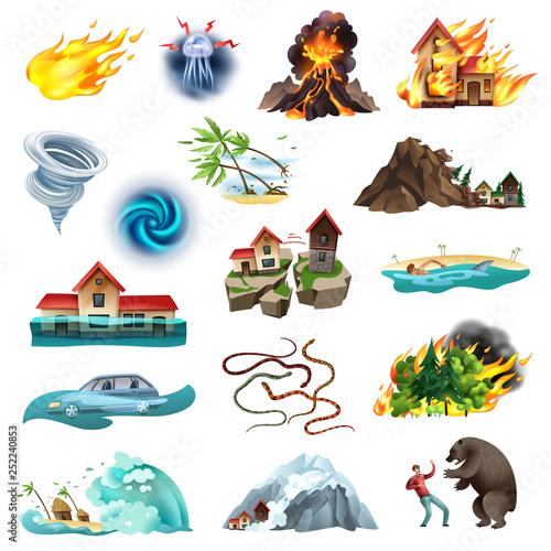 Canvas Print Natural Disasters Icons Set