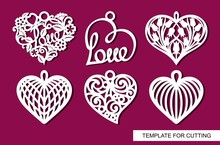 Set Of Decorative Pendants With Lace Openwork Hearts. Decor For For A Wedding Or February 14 (Valentine's Day). White Objects On A Red Background. Template For Laser Cutting, Wood Carving, Paper Cut.