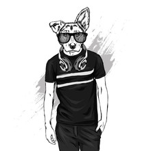 The Guy With The Head Of A Dog. Animal Hipster In A T-shirt And Headphones. Vector Illustration For Greeting Card Or Poster, Print On Clothes. Fashion And Style, Clothing And Accessories.