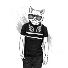 The Guy In The T-shirt And Headphones With The Head Of A Cat. Hipster Cat. Vector Illustration For Print On A Postcard Or Clothes. Fashion & Style.