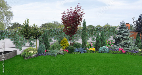 Horticultural background of scenery style garden, 3D illustration Canvas Print