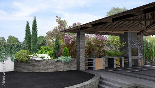 Montage in der Fensternische Khaki Arrangement patio living space, 3D rendering.