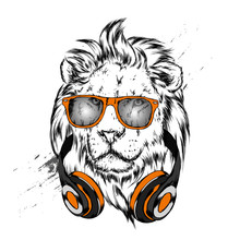 A Beautiful Lion Wearing Headphones And Glasses. Predator. Vector Illustration For Postcard Or Poster, Print For Clothes Or Backpack.