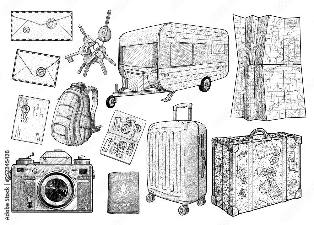 Fototapeta Travel elements collection, illustration, drawing, engraving, ink, line art, vector