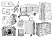 Travel elements collection, illustration, drawing, engraving, ink, line art, vector