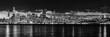 canvas print picture - Panorama skyline San Francisco monochrom bei Nacht