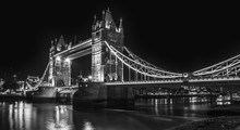Tower Bridge In London At Night, Black And White