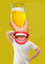 Friday, Weekend, Rest. Contemporary Modern Art Collage About Beer