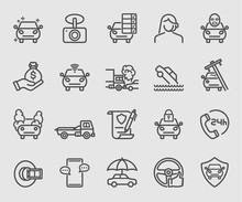 Line Icons Set For Car Insurance