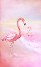 Watercolor Pink Flamingo At Su...