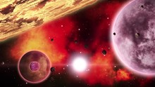 Planets In Front Of Fiery Red Nebulae In Deep Space. Space Art Collection. Loop.
