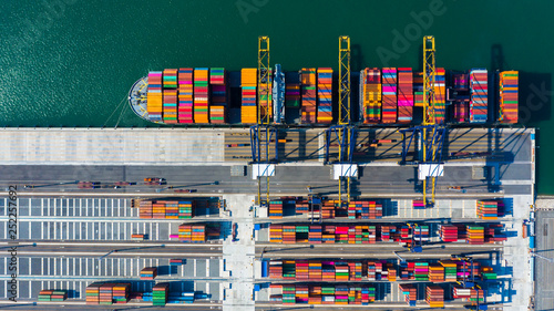Foto auf AluDibond Rotterdam Container cargo freight ship with working crane bridge discharge at container terminal, Aerial top view container ship at deep sea port.